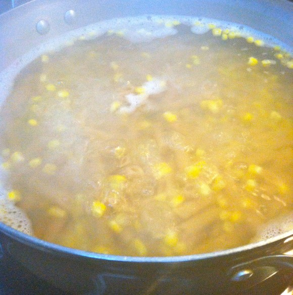 Corn in Pasta Water