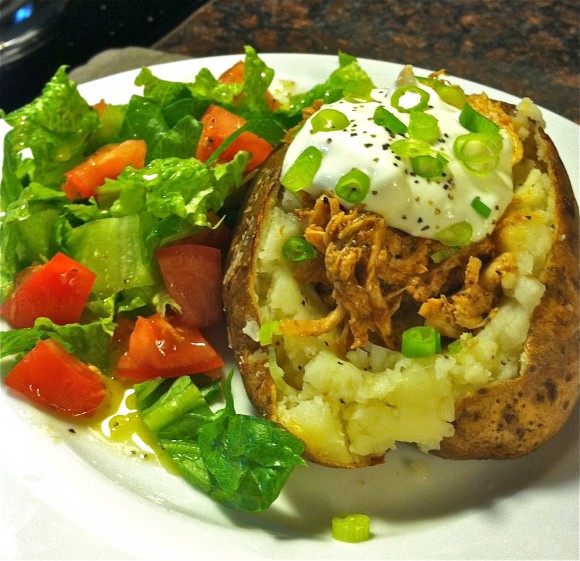 BBQ Baked Potatoes with Lemon Dressed Salad Recipe